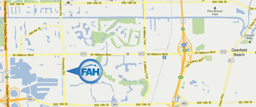 Directions Map to Find-A-Home Realty in Deerfield Beach, FL